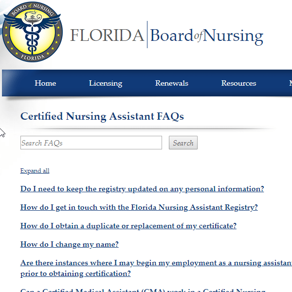 CNA Florida Board of Nursing FAQ square